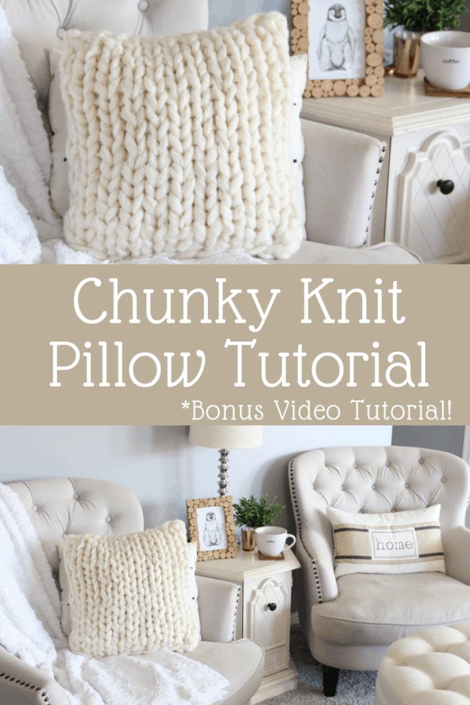 chunky knit pillow tutorial