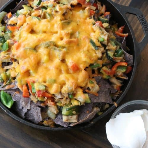 cast iron roasted vegetable and chicken nachos