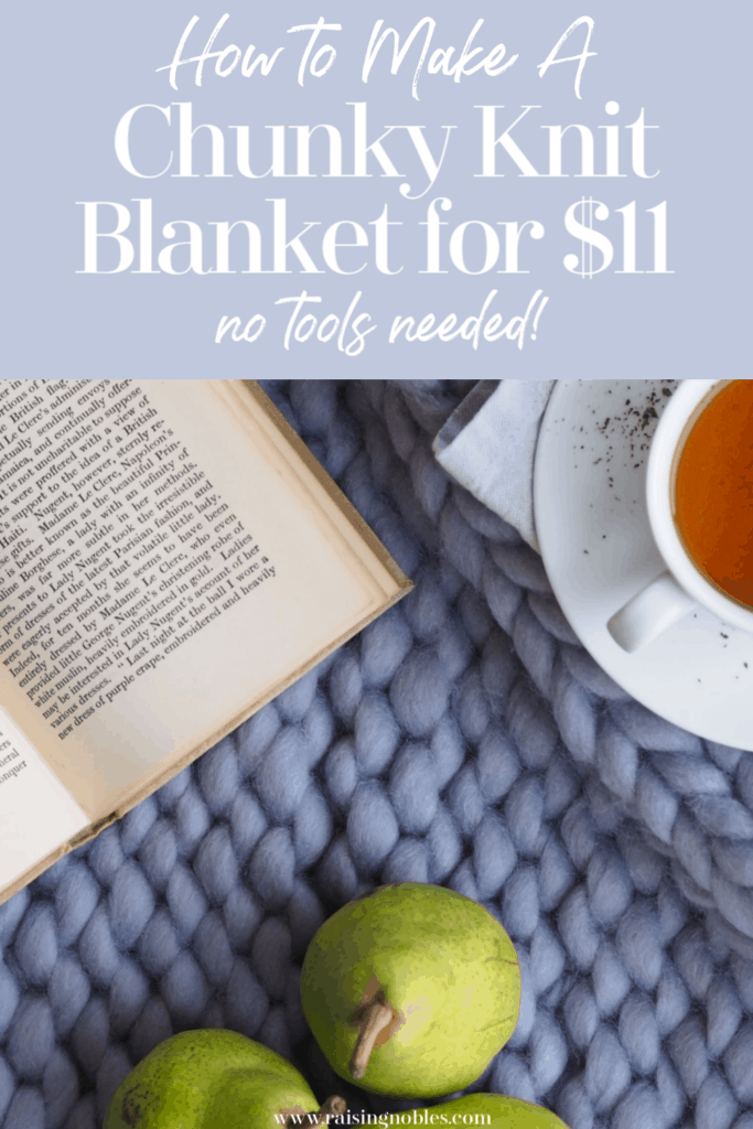 diy chunky knit blanket with cup of tea