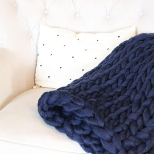 diy chunky knit blanket tutorial