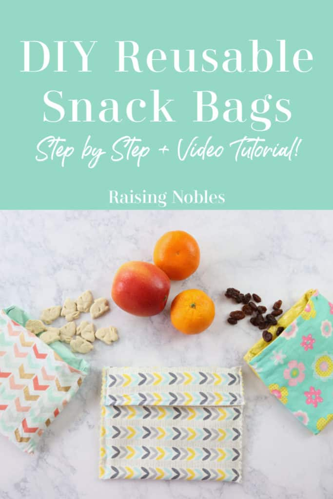 reusable sandwich bags with fruit and snacks on marble counter