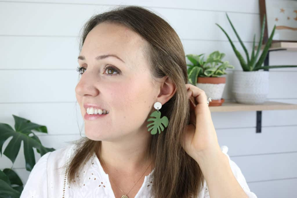 how to make clay earrings monstera earrings