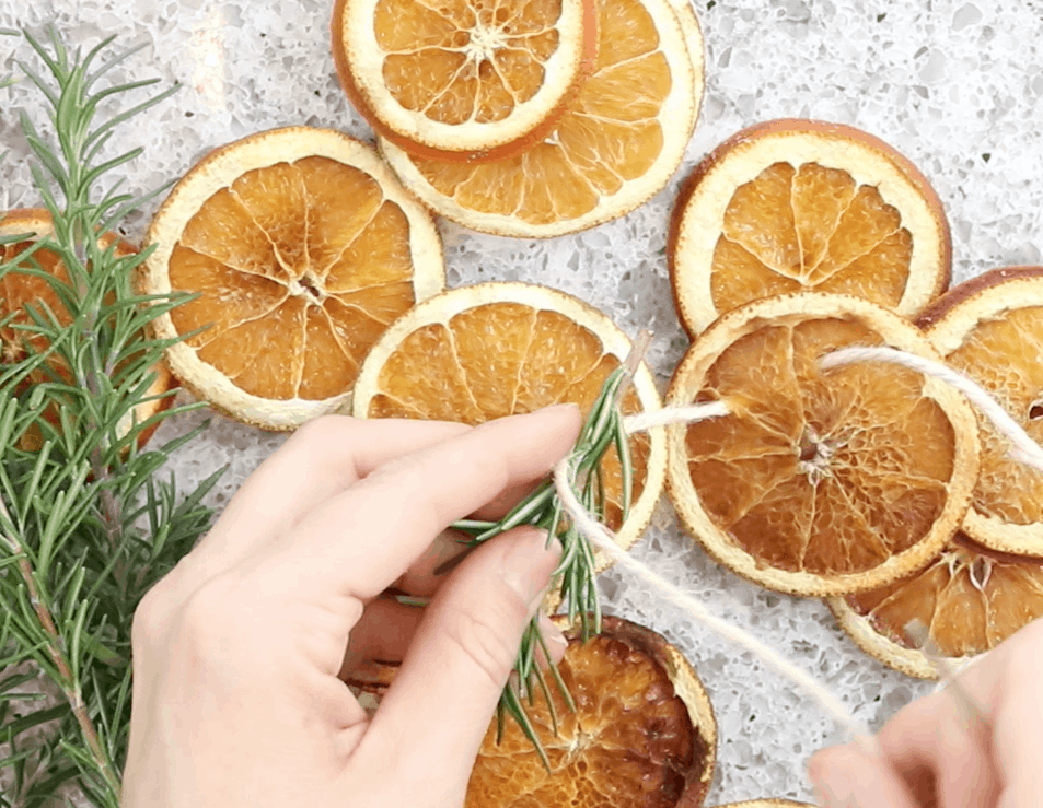 dried citrus garland with rosemary