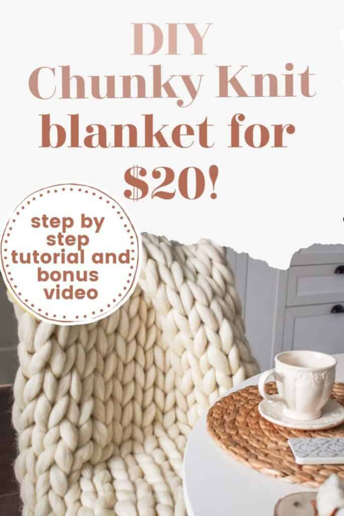 chunky knit blanket laying over chair