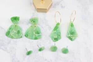 faux jade stone polymer clay earrings