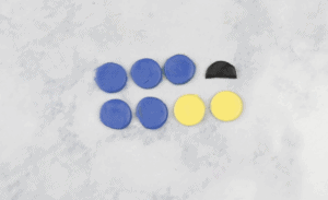 blue yellow and black clay waiting to be mixed together